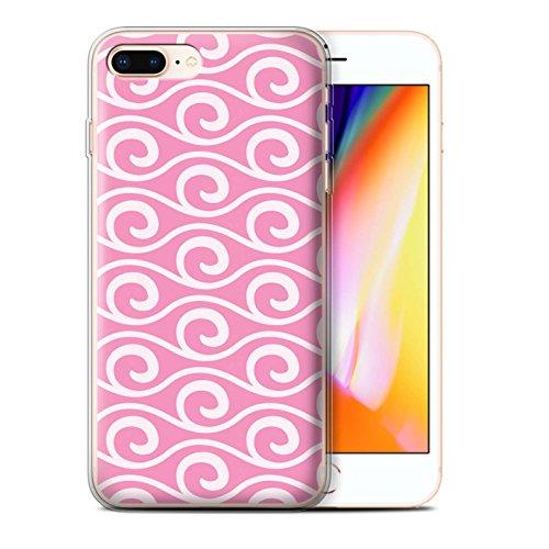 Stuff4 Gel TPU Hülle / Case für Apple iPhone 8 Plus / Blau Muster / Wellenmuster Kollektion Rosa