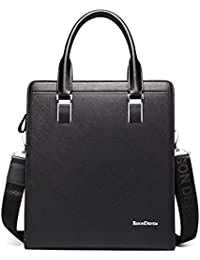Bison Denim Genuine Leather Briefcase Cross Body Messenger Bag Shoulder Bag Laptop Business Handbag Black