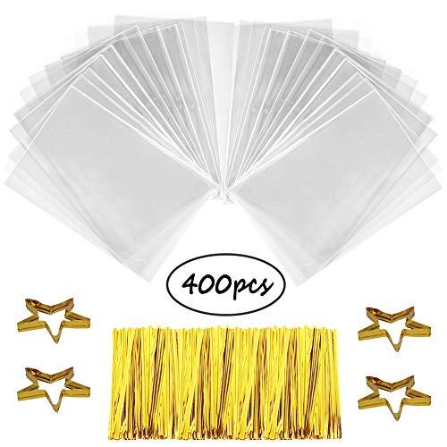 SWZY 400 Stück Klar OPP Cellophantüten 10 x 15 cm Zellglasbeutel+800 Stück Randomly Twist Ties, Plastiktüten, Flachbeutel, transparent, Taschen, Cellophantüte, Cellophan Tüten klein