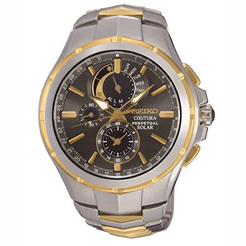 Seiko Ssc376 Coutura Solar Gold & Edelstahl Herren Uhr Steel