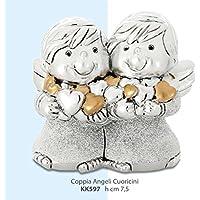 Figura ángeles con corazones dorados – plateado kikke cm 7,5 Made in Italy rifinito