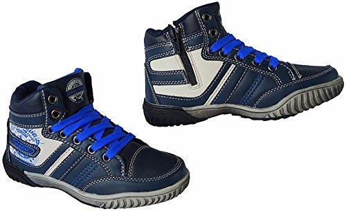 Kinder Freizeit Knöchelschuhe Turnschuhe Sneaker gr.30 - 35 art.nr.B186 Grau-Blau