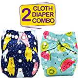 Bembika Cloth Polyester Diapers for Babies, Washable Reusable, Sizes Adjustable 2 Combo, Funny