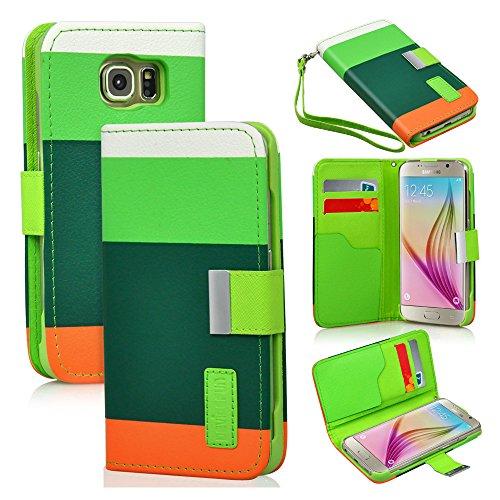 Brillant TM–Étui en imitation cuir avec étui portefeuille à rabat avec support design et coloré Protection, Cuir synthétique, Multi Pink, For iPhone 6 Multicolore/vert