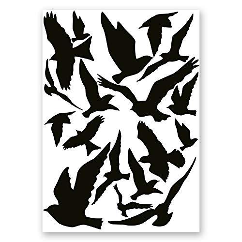 18er Aufkleber-Set Vogelschutz und Fensterschutz I hin_287 I Vogel-Silhouette als Schutz für Vögel, Glas-Tür, Fenster-Scheibe, Wintergarten -