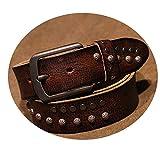 Cintura Borchiata Retro, Cintura Fibbia in Pelle Primo Strato Cucita a Mano, Cintura da Uomo Adulto,Ga Color,A