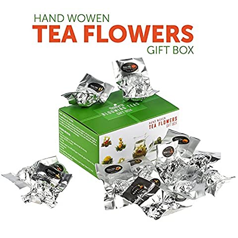 Tealyra - Blooming Flowering Tea Gift Box - 12 Variety Flavors of Finest Blooming Green Teas - 12 Quality Tea Balls Individually