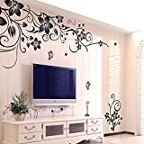 Transer@ Flowers and Vine Wall Art Stickers,Hee Grand Removable Vinyl Wall Sticker Mural Decal