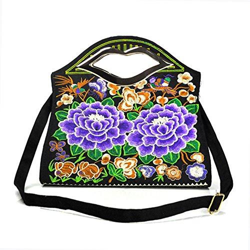 Bella borsa a tracolla–Memorecool ricamo Handbags National Style borsa ragazze in poliestere con zip Tasche interne Healthy peonies3 peonies2