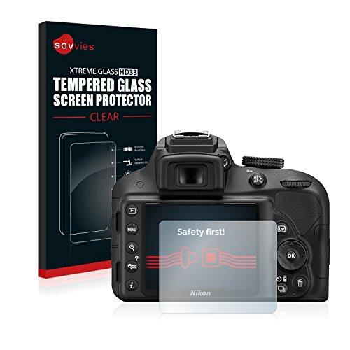 Savvies Protector Pantalla para Nikon D3300 Cristal Templado Vidrio Templado - Dureza 9H