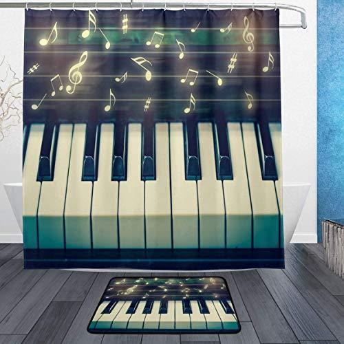 Tastatur Klavier Hintergrundmuster Duschvorhang Set 3D-Druck Wasserdicht beschichtetes Polyestergewebe Bad mit 12 Haken 71 Zoll Indoor Bodenmatte Badteppiche 60x40cm ()