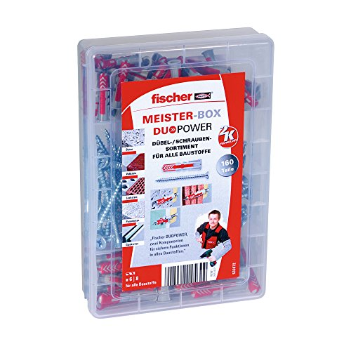 fischer Meister-Box DUOPOWER - Universaldübel-Set mit Schrauben für eine Vielzahl von Baustoffen - Allzweckdübel für Schilder, Leuchten, Elektroinstallationen uvm. - 160 Teile - Art.-Nr. 535972
