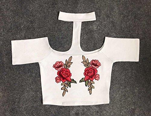 Smile YKK T-Shirt Manche Courte Femme Top Court Crop Epaule Nue Fleur Imprimée Casual Soirée Blanc