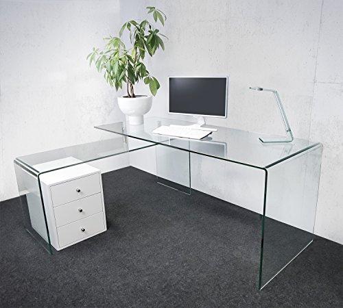 Klar Glas-schreibtisch (Design Schreibtisch Nepal 170 L-Form aus Glas (klar) + Rollcontainer | 170 x 70 x 73cm + 140 x 50 x 60cm | Glastische aus einem Stück gebogen | hochwertig verarbeitet: 12mm Glasdicke)