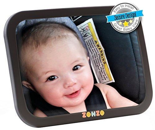Zohzo Rücksitzspiegel, Spiegel Auto Baby, Rückspiegel Baby Autospiegel 24X18 CM/9.5X7 Zoll Größe Rear View Mirror Car Rückspiegel kompatibel mit meisten Auto drehbar doppelriemen mit 360° schwenkbar Shatterproof Material für Baby Kinderbeobachtung