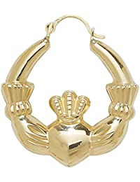 9ct Yellow Gold Large Claddagh Creole Earrings