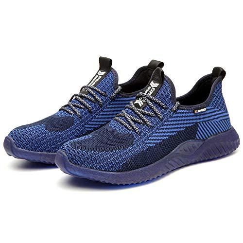 BAOLESEM Arbeitsschuhe Herren Damen S3 Sicherheitsschuhe Herren Leicht Sportlich Schutzschuhe mit Stahlkappen Sneaker, 03 Blau, 41 EU