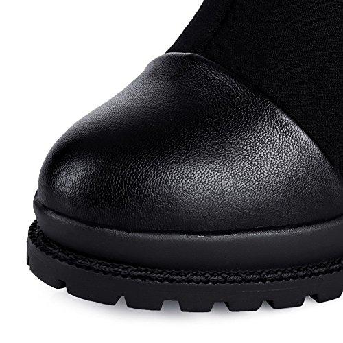 Hoher Stiefel spitze Hoch Auf Schwarz materialien Rein Absatz Agoolar Blend Damen Ziehen wgqx4wvtf