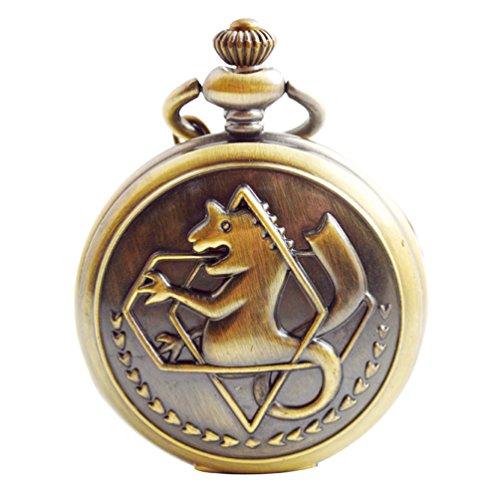 Boshiya en cuivre vintage Fullmetal Alchemist Quartz montre de poche FOB Chaîne de Edward Elric Anime Cosplay Cadeau avec chaîne et Box (Gronze)