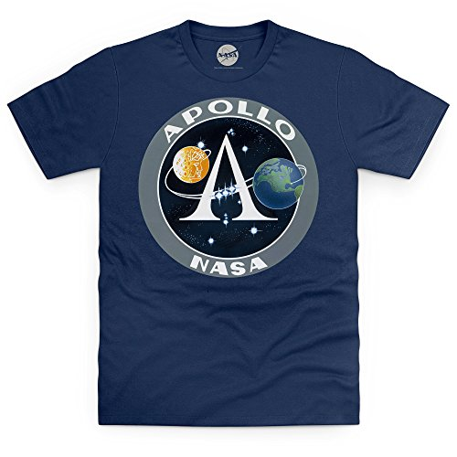 Official NASA Apollo Logo Camiseta, para Hombre, Azul Marino, L