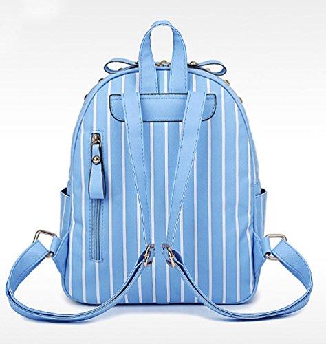 Sentao Damen Mode Rucksack Umhängetasche Schulrucksäcke PU Leder Reise Daypacks Tasche Schulranzen Set Himmel Blau