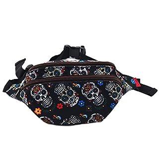 LParkin Hüfttasche, Bauchtasche, aus Leinen, mit Sugar-Skull-Motiv, Sugar Skull