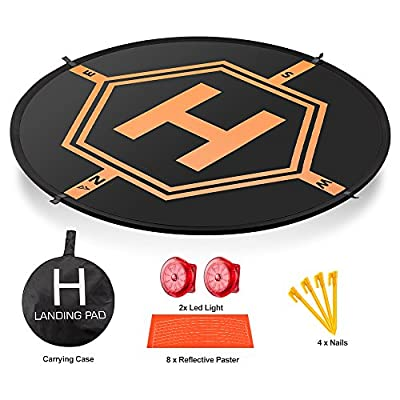 """AURTEC Drone Landing Pad 32""""(80cm) with [2 LED Lights] [4 ABS Land Nails] and [8 Reflective Pasters], Portable Fast-Fold RC Quadcopter Helipad for DJI Mavic Pro, Phantom 2 3 4 Pro, Inspire 2 1 & More"""