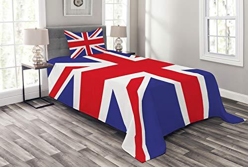 ABAKUHAUS Union Jack Tagesdecke Set, Britisches Loyal Symbol, Set mit Kissenbezug Klare Farben, für Einselbetten 170 x 220 cm, KönigsBlau rot-weiß -