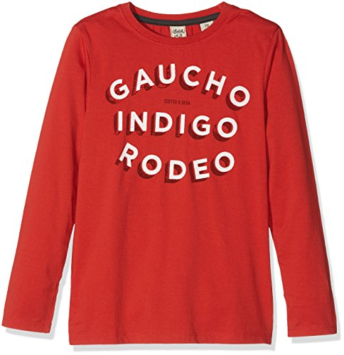 Scotch & Soda Shrunk Jungen T-Shirt L/s Graphic Tee, Orange (Gaucho Rouge 1301), 116 (Graphic T-shirt L/s)