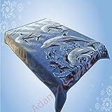 Adams Couvre-lit en polaire Motif dauphin 1 Bleu Taille L 200x240cm