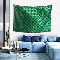 Lsjuee Verde Brillante pastello Sirena Scale arazzo appeso a parete per Camera da letto soggiorno Dormitorio casa Festa banchetto Decor, 60 x 51 pollici