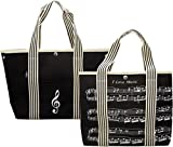 Canvas Tote Bag Decorated With Treble Clef/sheet Music Design For Musician