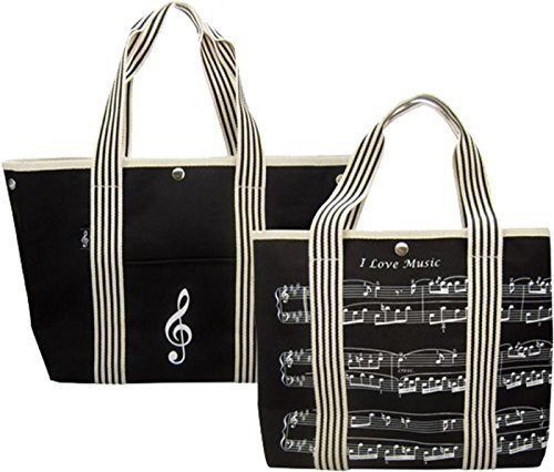 Handtasche aus Segeltuch mit Notenschlüssel/Musik Design für Musiker (Shopper Verziert)