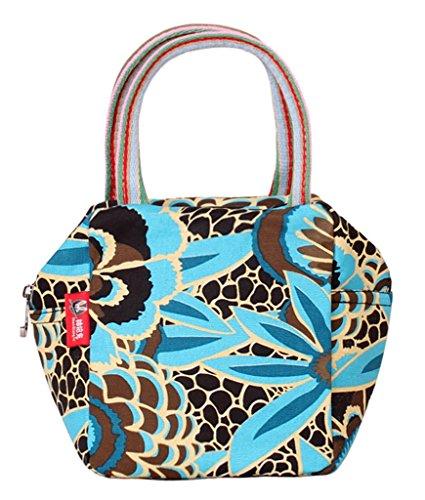 Fortunings JDS® Stile alla moda della tela di canapa a mano borsa del sacchetto stampato per le donne blu