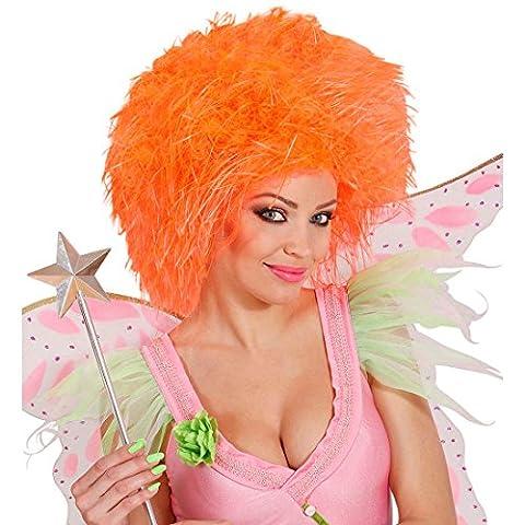 Perruque frisée cirque clown cheveux ondulé elfe papillon orange fluorescent conte de fées crinière frisottis carnaval soirée à thème déguisement