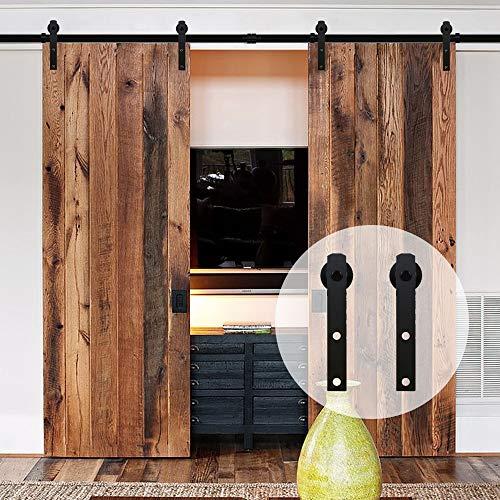 304cm/10FT Schiebe holztür, Schiebetürsystem Tür-Hardware-Kit für Schiebetüren Innentüren Doppeltür, Schwarz - barn door hardware sliding door