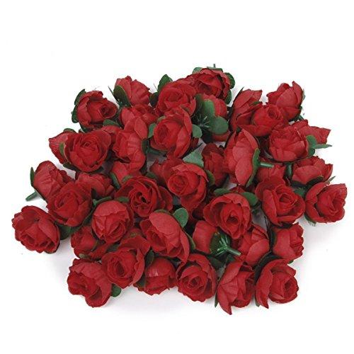ROSENICE Rote Rosen Künstliche Blume Rosen Blumen Kunstrose Rosenköpfe Hochzeit Party Dekoration (Rot) - 50 Stücke