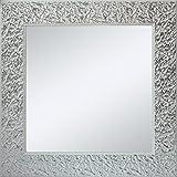 Antonio Luque Espejo Decorado en Madera con un Marco Ancho Lacado en Blanco y Manchado en Plata   Fabricado en España   Alta decoración   Muy Elegante