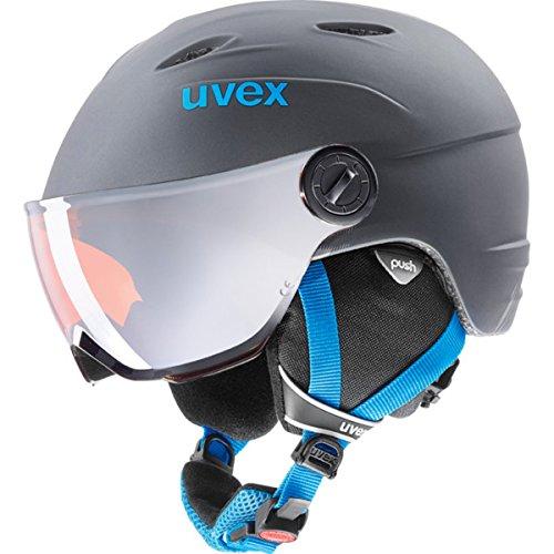 Uvex Kinder Junior Visor Pro Skihelm, Titanium-Blue Mat, 46-52 cm