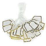 UEETEK 500Stk Anhängeschilder Preisetiketten Geschenk Anhänger Papieranhänger (Golden + Weiß)