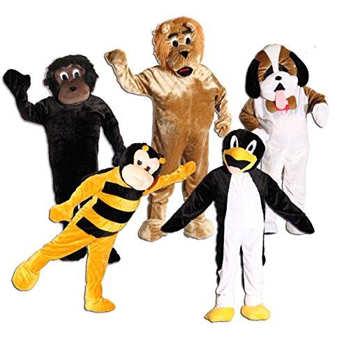 Hunde Löwe Kostüm Für Kopf - Foxxeo 10854 | Maskottchen Promotion Lauf Kostüm Gorilla Hund Biene Löwe Pinguin Gr. 170-190 cm, Maskottchen:Pinguinkostüm