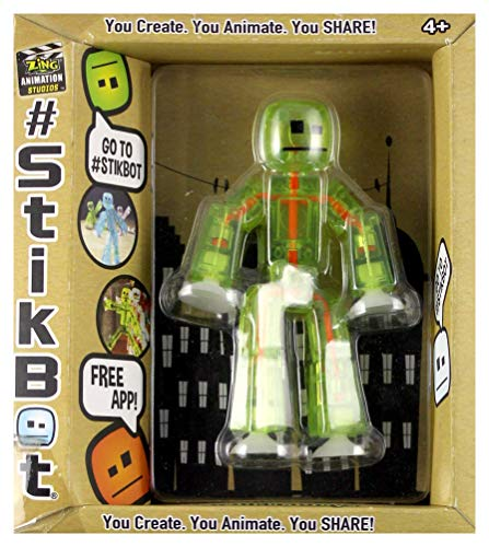 Stikbot, Translucent Light Green Stikbot Action Figure [Glows In the Dark], 3 Inches by Zing