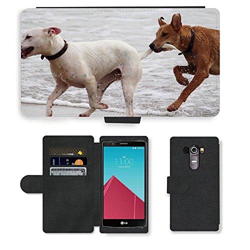 Just Phone Cases PU LEDER LEATHER FLIP CASE COVER HÜLLE ETUI TASCHE SCHALE // M00421764 Hunde Stöckchen zu spielen Beißen Romp // LG G4 H815