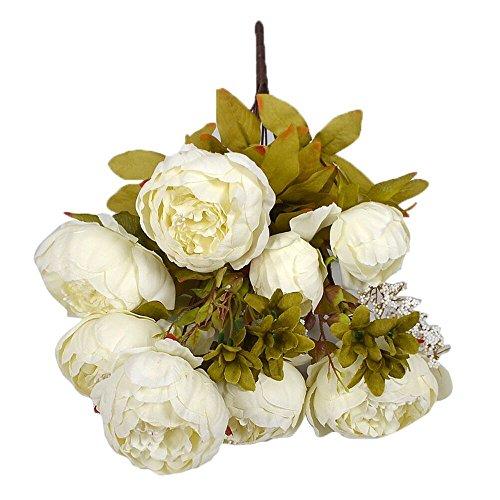 1 Bouquet 8 Têtes Artificielle Pivoine Soie Fleur Feuille Maison Décoration De Noce