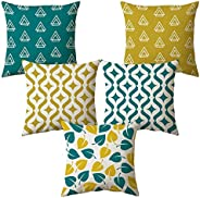 AEROHAVEN Set of 5 Multi Colored Decorative Hand Made Jute Cushion Covers - CC14 - (16 Inch x 16 Inch, Multico