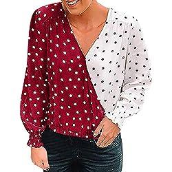YEBIRAL Camisetas Mujer Manga Larga Casual Cuello en V Patchwork Lunares Suelto Suaves Tops Camiseta Blusas de Fiesta de Mujer(S,Rojo)