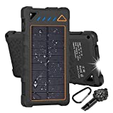 Hobest Solar Charger 10000mAh,Waterproof Outdoor Solar Power Bank with LED Flashlight,5V/2A-Port USB Portable Charger Solar for Smartphones, EmergencyTravel (Compass Whistle Included) (orange)