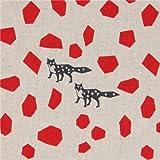 Naturfarbenes Wachstuch echino Stone mit roten Formen und