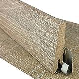 TRECOR Sockelleiste für Vinyl-/LVT Klick Designboden | Höhe: 60 mm | Tiefe: 18 mm | Länge: 2700 mm - Sie kaufen 1 Stück mit 270 cm - WASSERFEST verleimt - Bitte gewünschte Menge eintragen (Vinylboden Sockelleiste, Eiche Struktur)