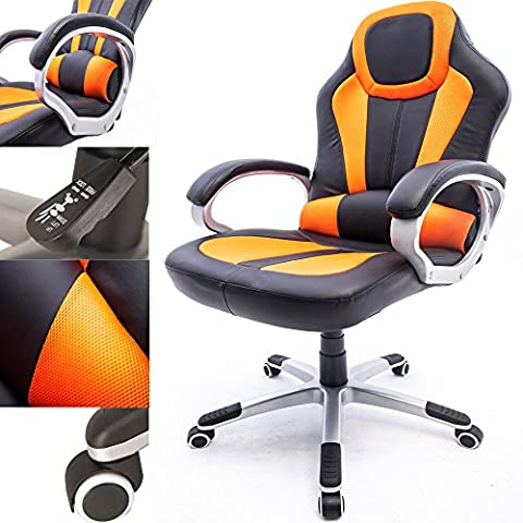 RayGar Orange Deluxe Gaming Sports Racing Style Chair Computer Desk Reclining Office Chair